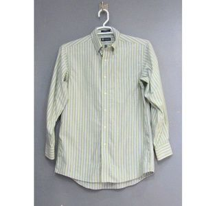 Chaps Oxford Green Blue Shirt Size 15 - 15 1/2 M